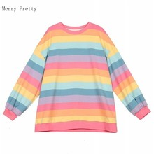 Pink Rainbow Striped Oversize 2xl T Shirts For Women 2020 Summer Long Sleeve O-neck T Shirt Korean Style Ladies Tops Tees