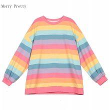 T-shirt à manches longues et col rond pour femme, haut surdimensionné à rayures arc-en-ciel, rose, 2xl, hauts, 2020