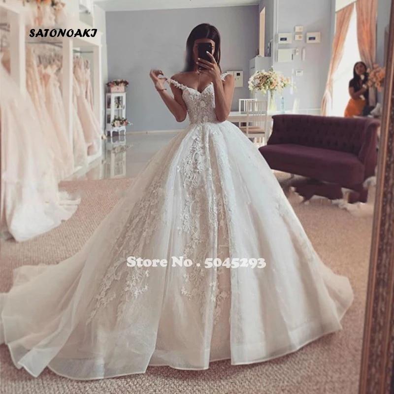 Latest Organza Ball Gown Wedding Dress Spaghetti Straps Lace Beaded Back Bridal Vestido De Novia Online Shop Undefined Mariage Wedding Dresses Aliexpress