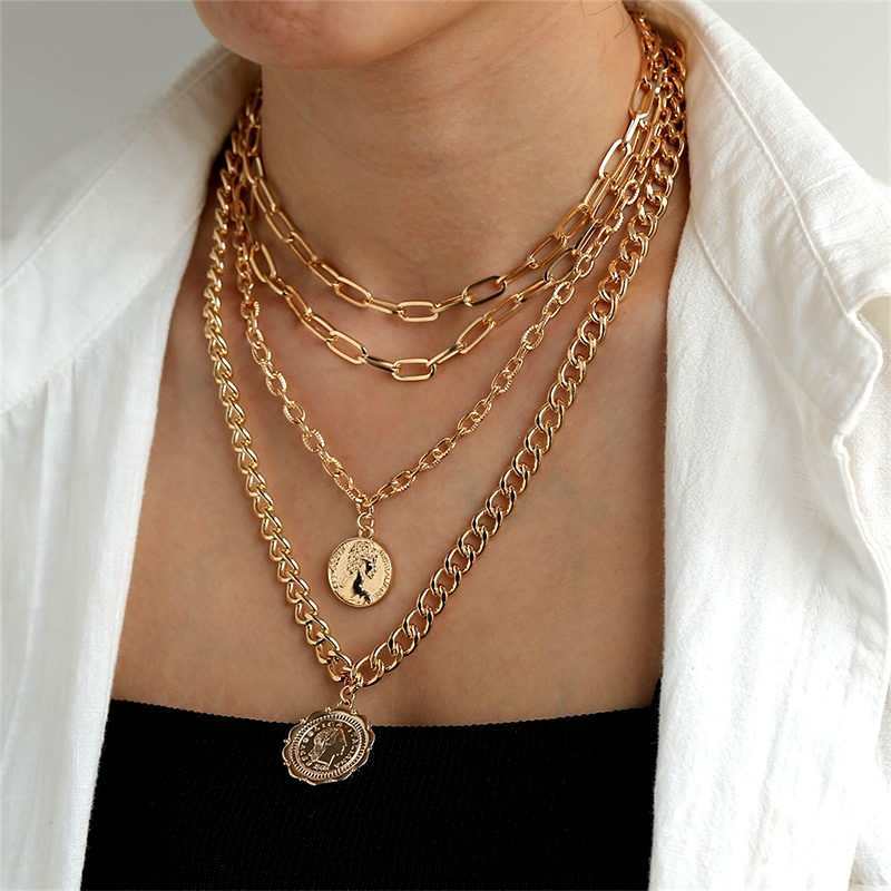 VKME Punk Multilayer Thick Chain Necklace For Women Necklace Coin Avatar Pendant Necklaces Bohemian Jewelry Party Gift