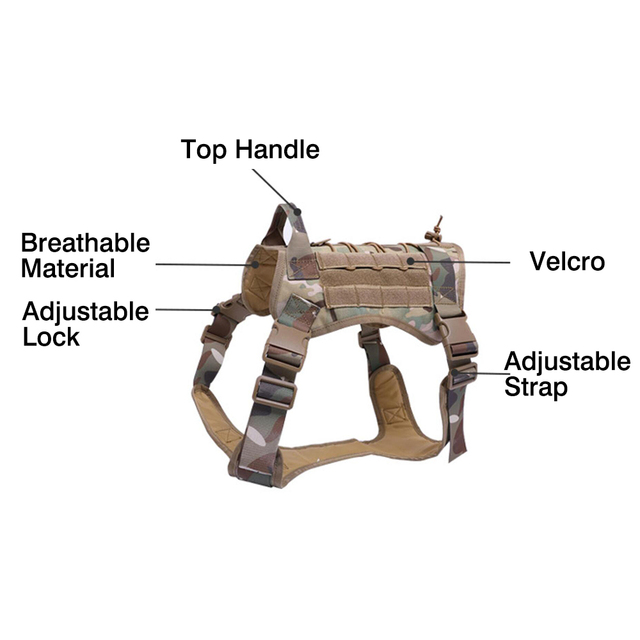 Military Tactical Dog Harness German Shepherd Pet Dog Vest With Handle Nylon Bungee Dog Leash Harness For Small Large Dogs Puppy 2