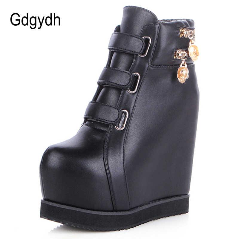 Gdgydh 2019 Sonbahar Kadın yarım çizmeler PU Yumuşak Deri Yuvarlak Ayak Kafatası Kanca Döngü Kadın kısa çizmeler Artan Topuklu Kadın Ayakkabı