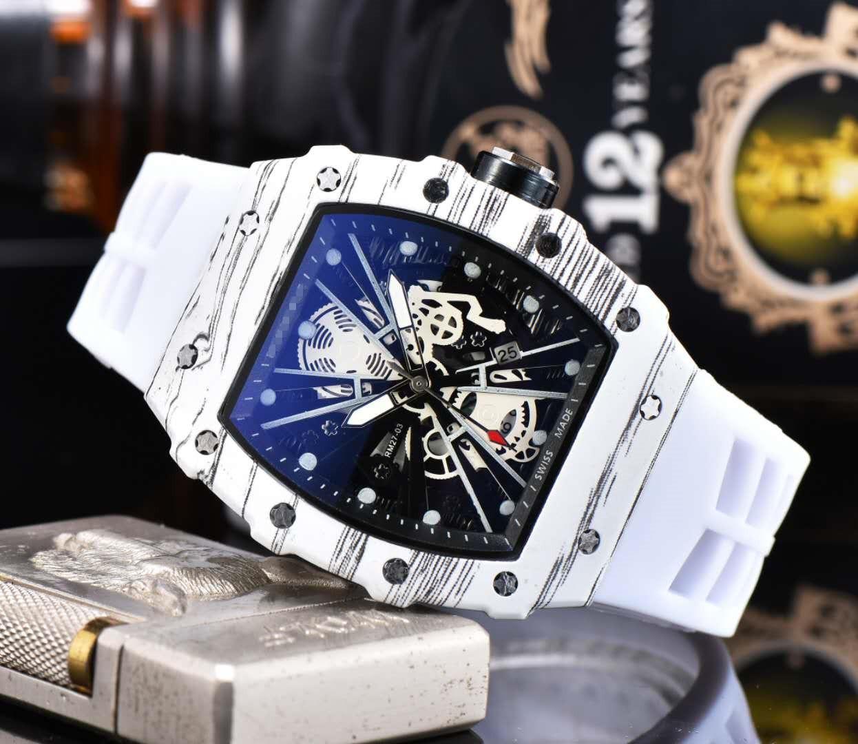Trendy Men's Watch RM Richard Luxury Quartz Watches Top Brand Mille Mens Watch Designer Wristwacth Water Resistant Reloj Hombre