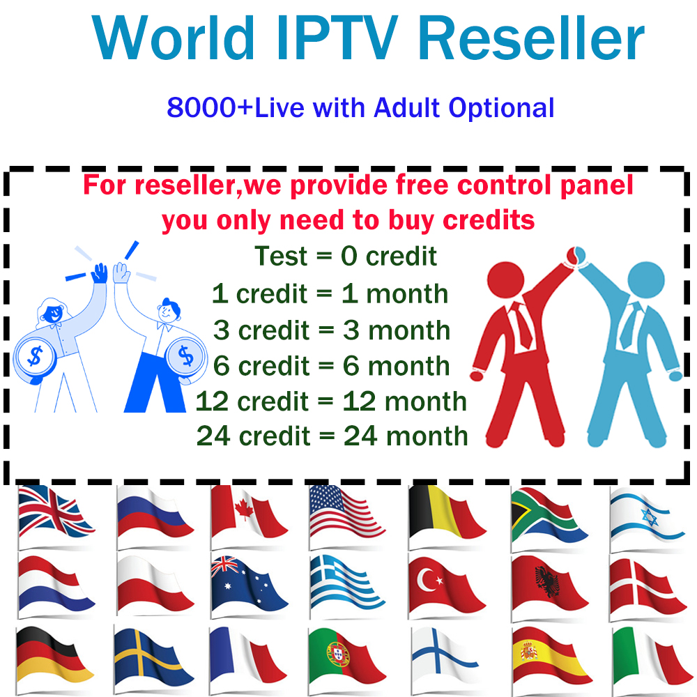 IPTV Reseller Panel World IPTV Control Panel 8000+ IPTV Italy French Spain Europe US AR Support Android M3u Smart Tv Iptv Adult