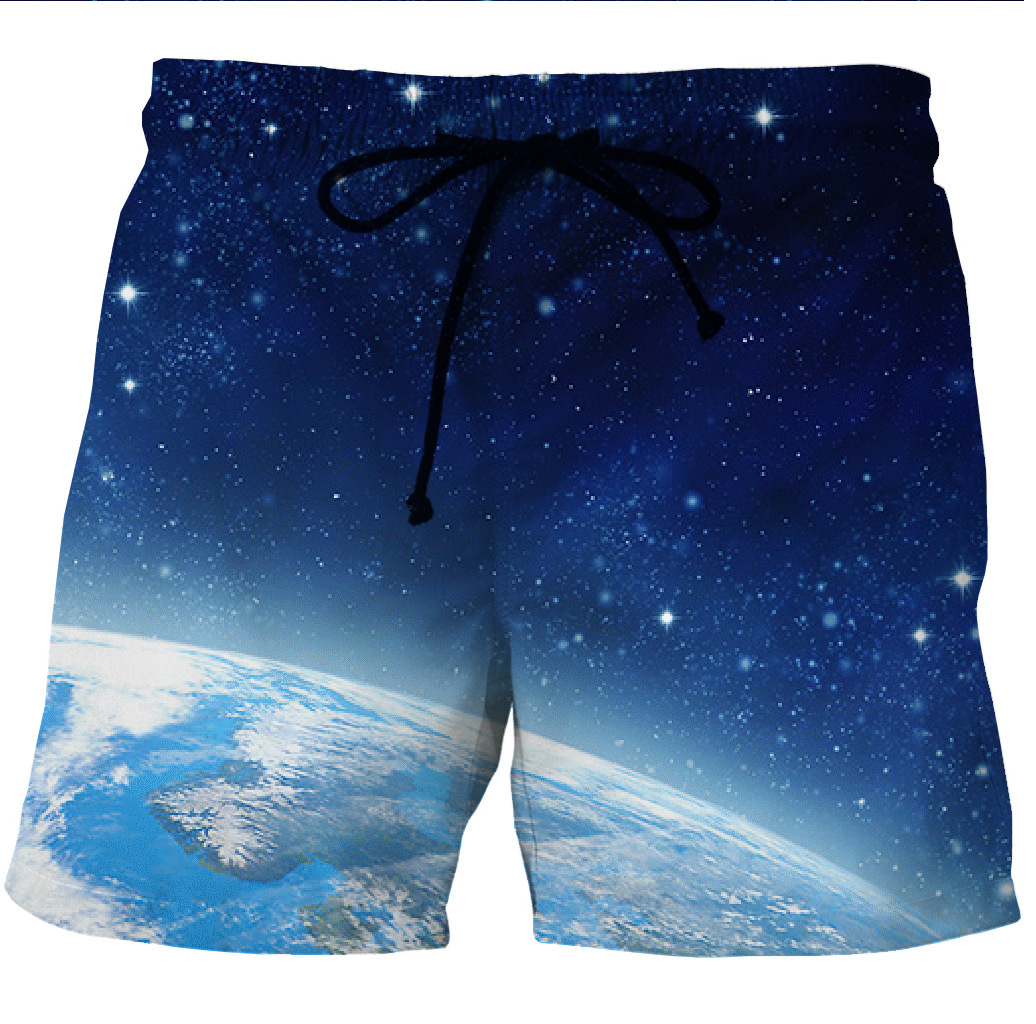 Digital Printing Men's Quick-drying Beach Shorts With Pocket Printing On Both Sides Of Leisure Shorts