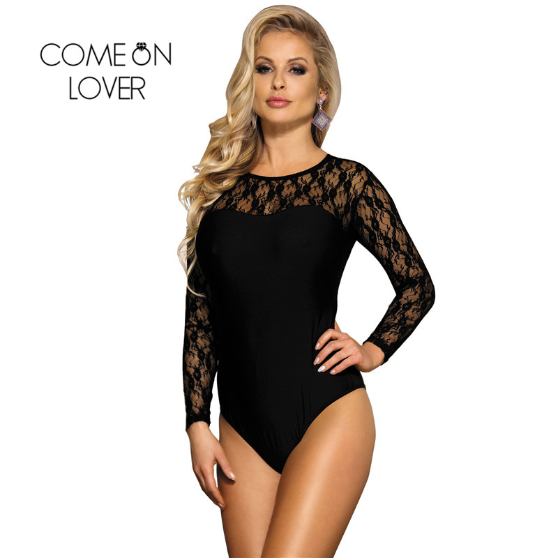 Comeonlover Lace Bodysuit for Women Sheer Mesh Body Tops Sexy Long Sleeve Leotard Black Clubwear Stitching Jumpsuit RI80372