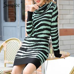 Image 2 - Платье Свитер Simplee с животным принтом; уличная одежда с высоким воротником и карманами; трикотажное платье; повседневное женское прямое мини платье; сезон осень зима