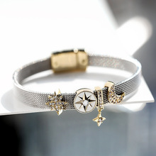 Luxury female star moon beauty bangle fashion jewelry bracelet crystal concise wristlet jewel women