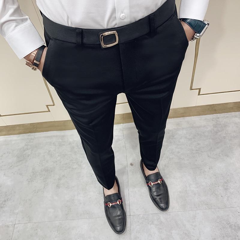 2020 Spring Mens Dress Pants Ankle Length Business Suit Pant Casual Slim Formal Trousers Blaack Khaki Elastic Pencil Pants 28-36