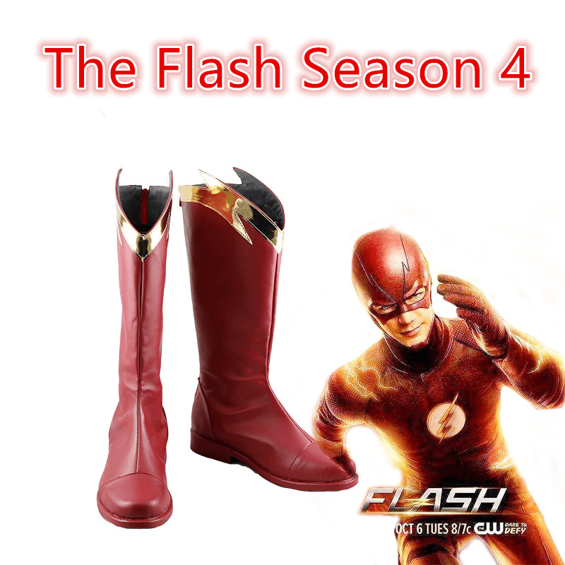 Movie The <font><b>Flash</b></font> Season 4 <font><b>Barry</b></font> <font><b>Allen</b></font> <font><b>Flash</b></font> shoes Cosplay Costumes Custom Halloween men and women cartoon Game animation shoes image