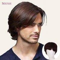 HOUYAN-Peluca de cabello humano para hombre, de 100% superior peluquín, línea de cabello Natural