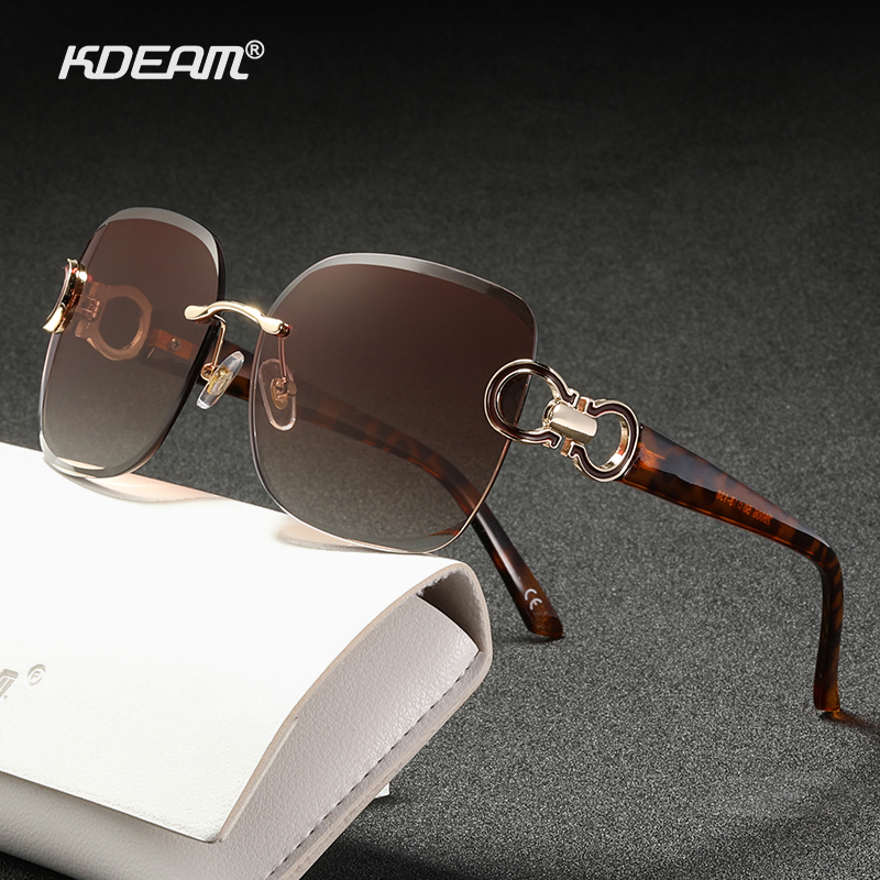 KDEAM Frameless Vintage Sunglasses Women Tortoise Buckle Anti Reflective Lens Car Sun Shades For Women KD8006