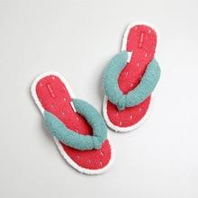 kawaii furit red Watermelon Fluffy Slippers Soft Platform Flip Flops Ladies Bedroom Slides Cute