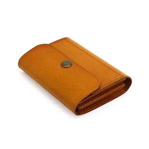 Image 5 - Carteiras de cartão de crédito couro genuíno artesanal id bus bolsa de cartão de licença dos homens de couro mini cintura bolsa de moedas