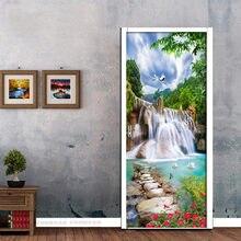 3d красивый горный водопад дверь стикер гостиная спальня самоклеящиеся