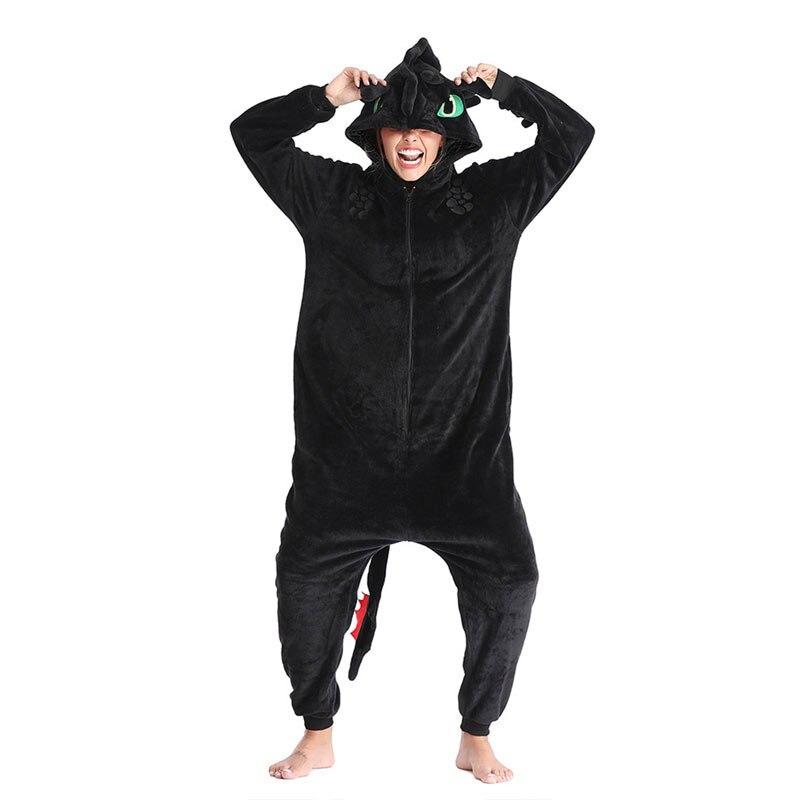 Toothless Dragon Kigurumi Black Onesie Adult Unisex Flannel Pajama Anime Train Your Night Fury Sleepwear Home Wear Zipper Suit