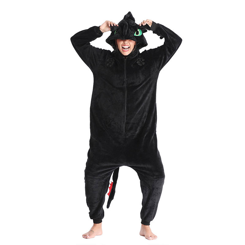 Toothless Dragon Kigurumis Black Onesie Adult Unisex Flannel Pajama Anime Train Your Night Fury Sleepwear Home Wear Zipper Suit