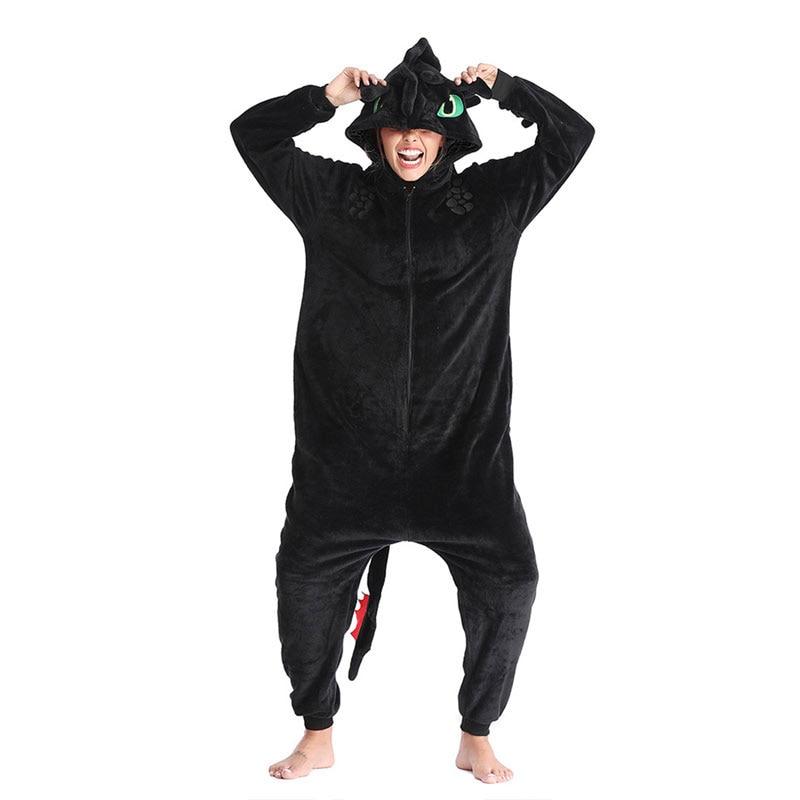 Toothless Dragon Kigurumis Black Onesie Adult Unisex Flannel Pajama Anime Train Your Night Fury Sleepwear Home Wear Zipper Suit