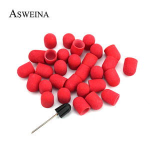 20Pcs Sanding Caps 10*15mm Red Sanding Bands Electric Pedicure File Manicure Machine Accessories Nail Art Tools
