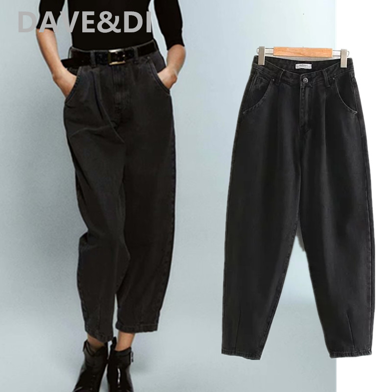 Dave&Di 2020 England High Street Loose Mom Jeans Woman High Waist Jeans Candy Color Turnip Denim Pants Boyfriend Jeans For Women