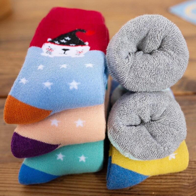 5 парт/Лот, Детские хлопковые носки для девочек и мальчиков, зимняя утепленная одежда, однотонные Модные Спортивные Повседневные носки, детс...