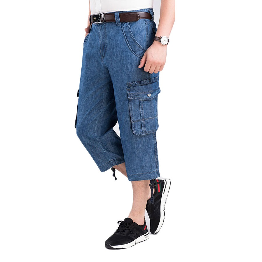 Jeans Shorts Men's Summer Breeches 2020 Multi Side Pocket Casual Bermuda Male Straight Long Blue Denim Loose Cargo Shorts Men