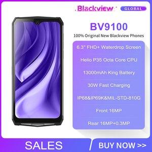 Image 2 - Blackview BV9100 6.3 FHD + 13000mAh IP68 wytrzymały smartfon 4GB 64GB Helio P35 Octa Core Android9.0 telefon komórkowy 30W szybkie ładowanie