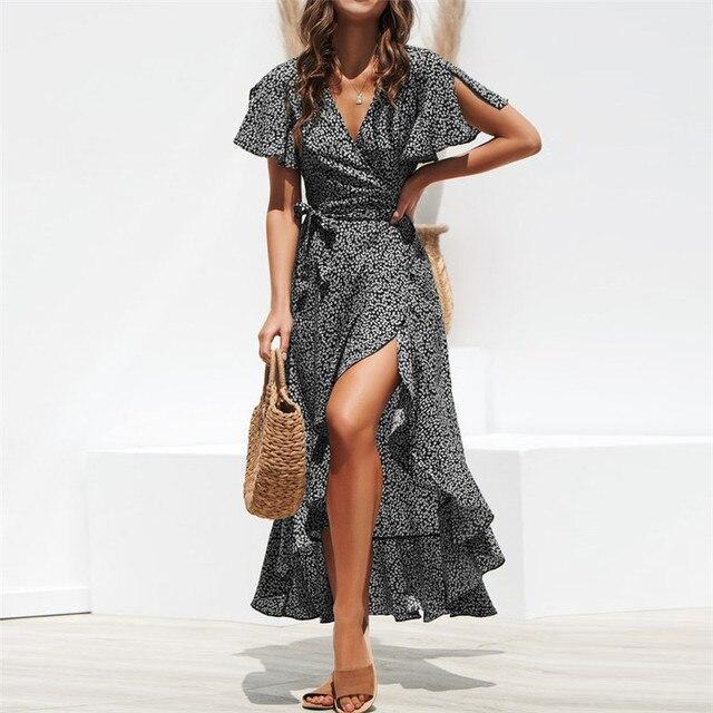 Summer Beach Maxi Dress Women Floral Print Boho Long Chiffon Dress Ruffles Wrap Casual V-Neck Split Sexy Party Dress Robe 4