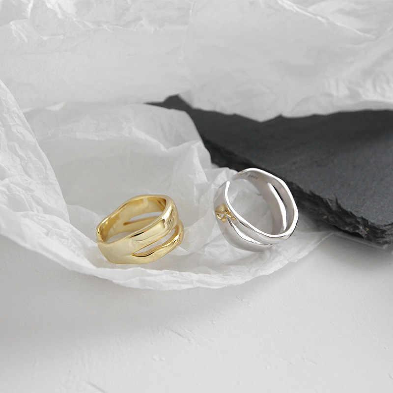 XIYANIKE 925 ayar gümüş Trendy zarif büküm iki daire yüzükler kadınlar için çift basit geometrik el yapımı takı ayarlanabilir