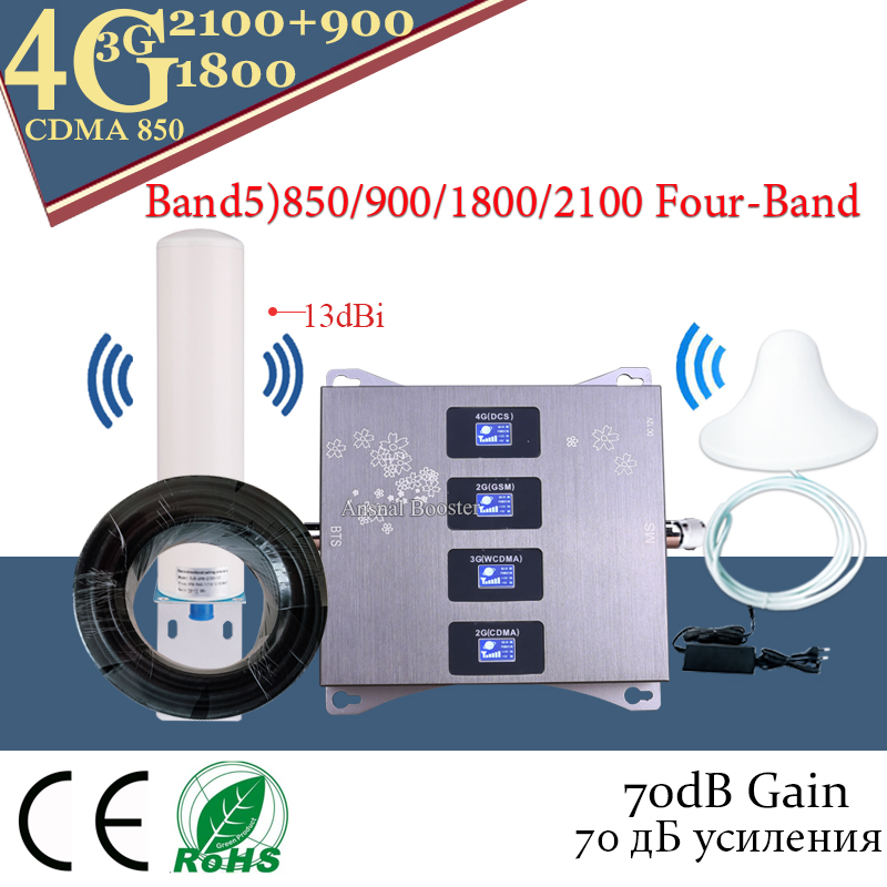 Hot!! Band5)CDMA850 900 1800 2100 Four-Band Mobile Signal Booster GSM 4G Repeater 2g 3g 4g Cellular Amplifier CDMA GSM DCS WCDMA