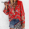 Fanbety 5XL Chains print Blouses Woman Sexy V-Neck Button Long Sleeve Shirt 2019 Womens Elegant Autumn New Tops Blouse plus size 1