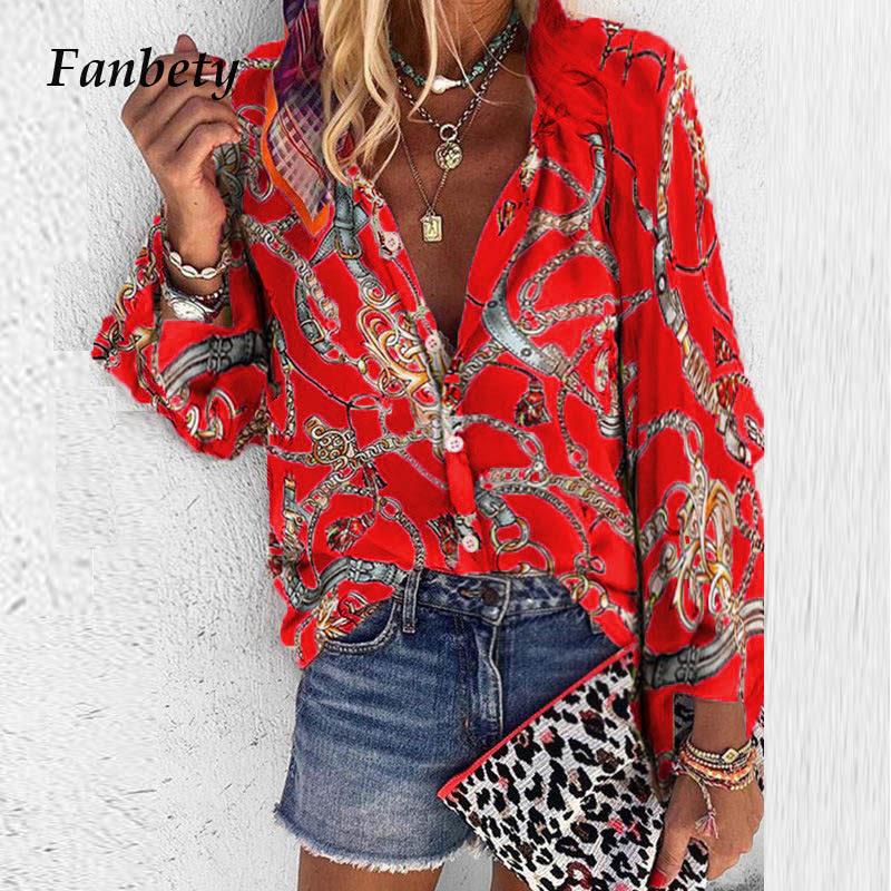 Fanbety 5XL Chains print   Blouses   Woman Sexy V-Neck Button Long Sleeve   Shirt   2019 Womens Elegant Autumn New Tops   Blouse   plus size