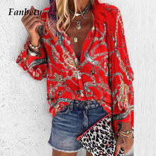 Fanbety 5XL Chains print Blouses Woman Sexy V-Neck Button Long Sleeve S