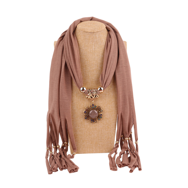 2020 NEW Arrival Solid Jewelry Statement Necklace Flower Pendant Scarf Women Neckerchief  Foulard Femme Accessories Hijab Stores