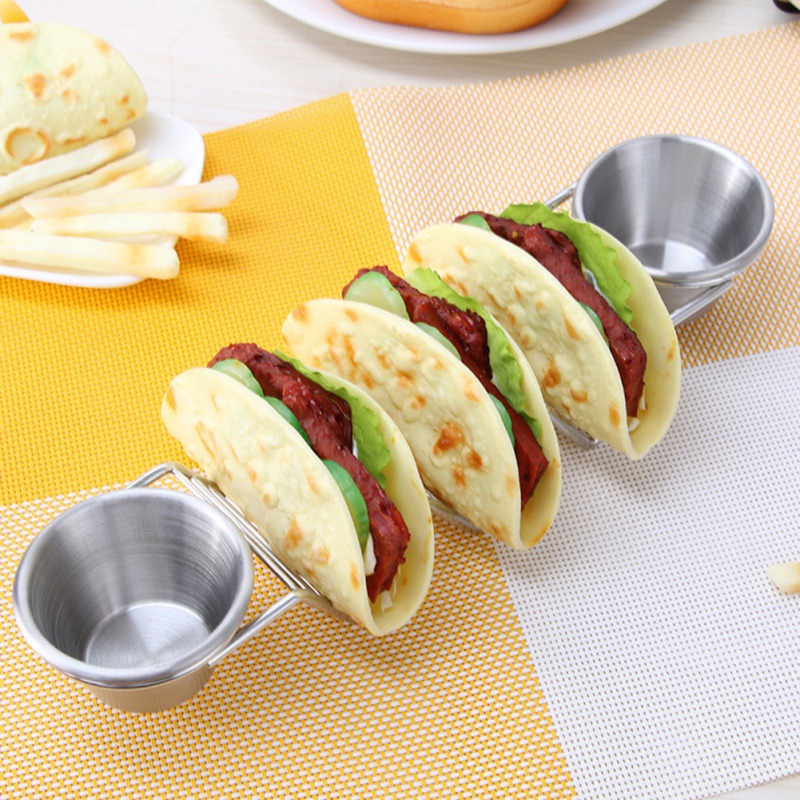 Stainless Steel Taco Holders Rack Mexican Food Stand Holder With Cup Wave Shape Kitchen Tool Restaurant Food Display Rack