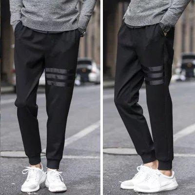 Men Leather Three-Bar Drawstring Top Sports Harem Pants Japanese-style Skinny Autumn Capri Pants Skinny Slim Fit Fashion 9 Point