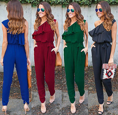 Fashion Womens Ladies Stylish Solid Color Short Sleeve Ruffles One Shoulder Summer Long Rompers Loose Jumpsuits Playsuits Pants