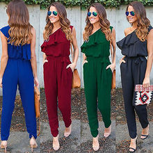 Fashion Womens Ladies Stylish Solid Color Short Sleeve Ruffles One Shoulder Summer Long Rompers Loos