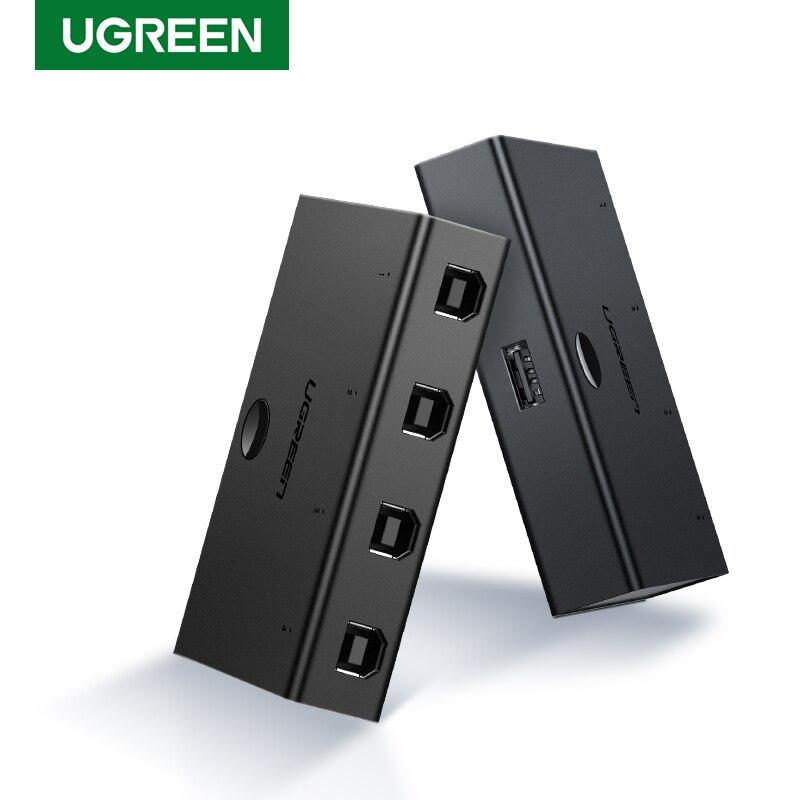 Периферийный коммутатор Ugreen, USB2.0 совместное использование, адаптер, коробка для совместного использования принтера, USB устройства для скан...
