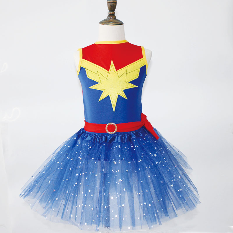 Movie-Costume Party-Dress Superhero-Theme Girl Wonder Woman Kids for Captain