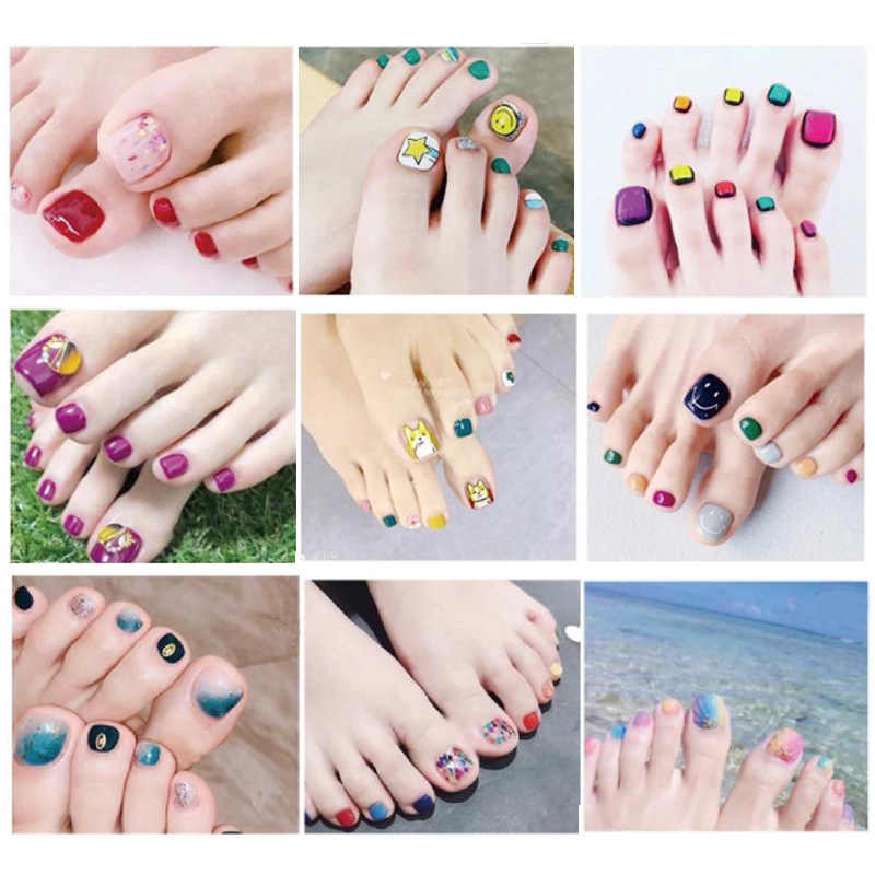 22 Tips Korea/Japanese Designed Toenail Sticker Full Cover Waterproof Nail Sticker Wraps Toe Nail DIY Nail Art Unas Nail Sticker