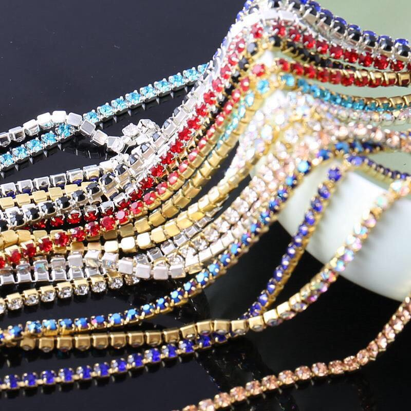 1yard 1Row ss6 ss12 ss16 colour Crystal Glass rhinestone Silver Cup claw close chain sew on Trims craft for clothing accessories