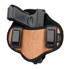 Kosibate Hunting Holster PU Leather Concealed for Gun Pistol Glock 17 19 23 32 Sig Sauer P250 P224 Beretta 92 Taurus Pancake IWB