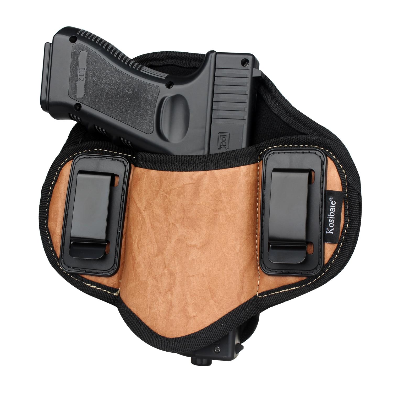 Kosibate caça coldre couro do plutônio escondido para pistola glock 17 19 23 32 sig sauer p250 p224 beretta 92 panqueca taurus iwb