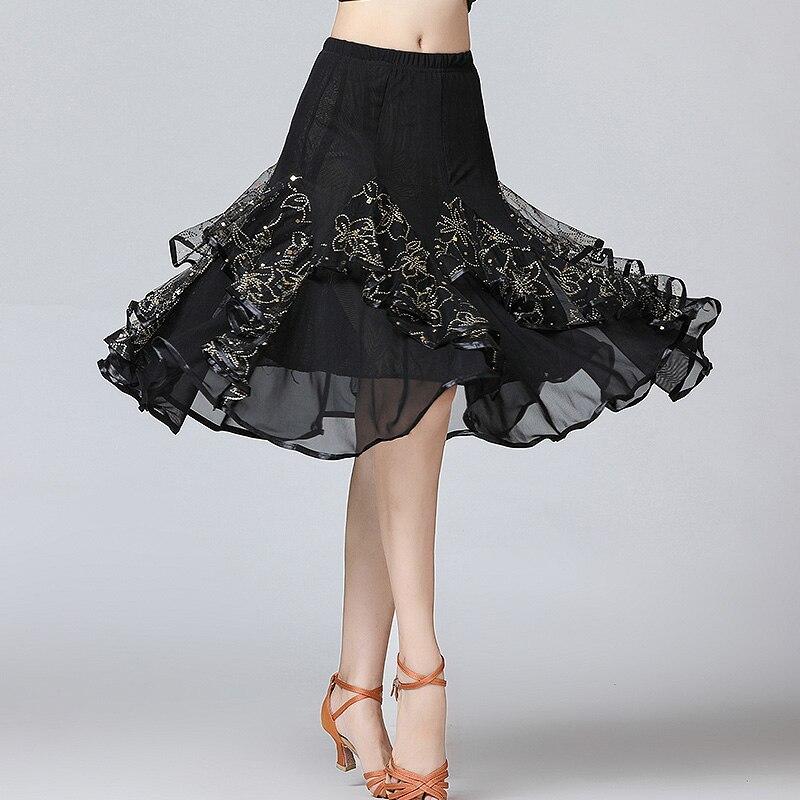 Image 2 - New Ballroom Dance Skirts Women Latin Tango Modern Dancing Skirts National Standard Waltz Flamenco Competition Dance DressBallroom   -