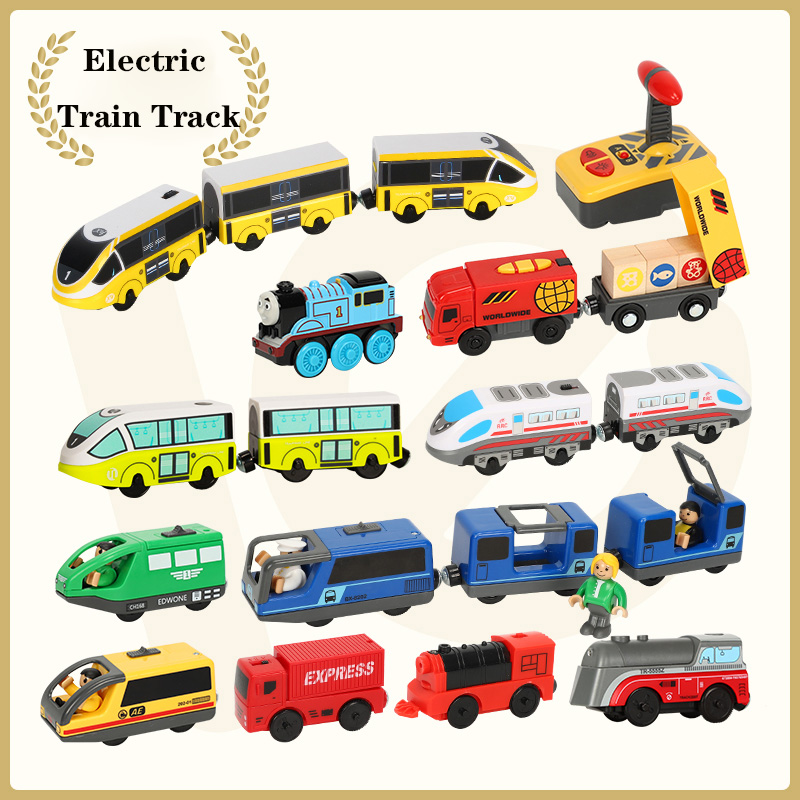 Electric Train Set Magnetic Train Diecast Slot Toy Fit For Brio Track Standard Wooden Train Track Railway Educational Track Toys
