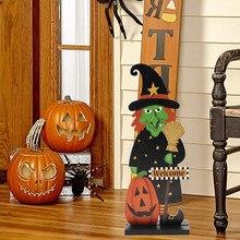 Festival bricolage décorations Halloween dessin animé sorcière citrouille ornement en bois délicat jouet bricolage maison fête Photobooth accessoires