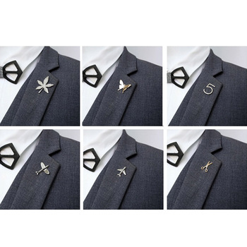 Unisex Fashion Lapel Pins Alloy Plane Maple Leaf Butterfly Smile Scissor Figure Pins Shirt Collar Suit Brooches Men Jewelry Gift image