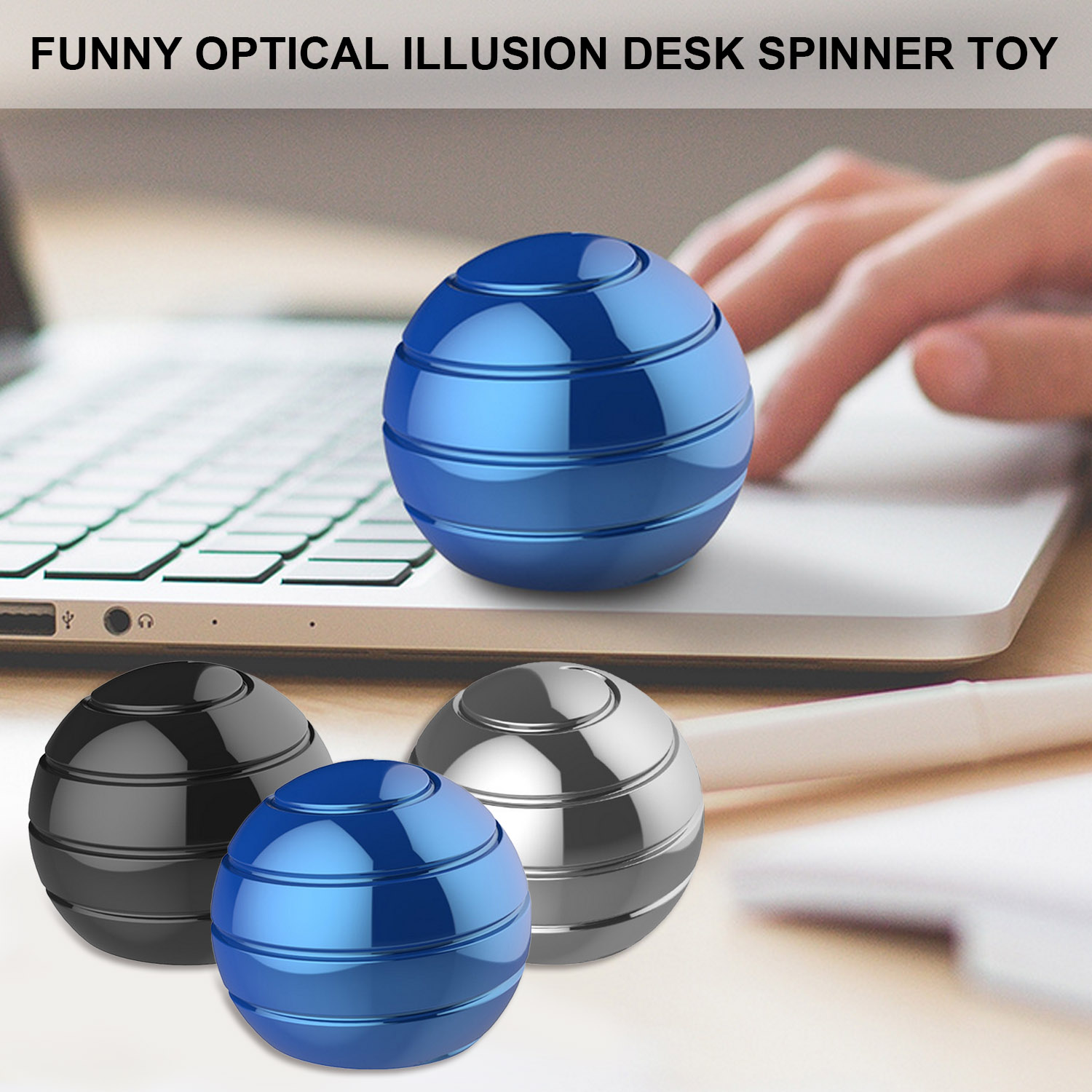 Funny Desk Spinner Gyroscope Top Ball Toy With Optical Illusion For Kids Adults Stress Anxiety Relief 55mm Diameter