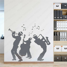 Jazz Band Silhouette Wall Decals Waterproof Dance Decor Removable Wall Stickers For Jazz Fans Bedroom Party Ornament LW620 real jam jazz band 2019 02 09t20 30